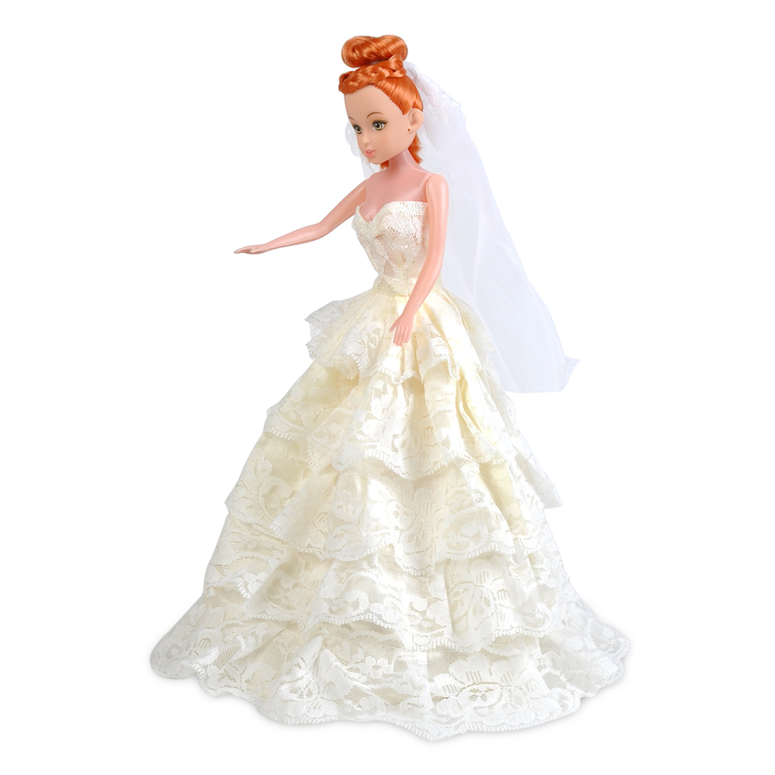 Bridal party dress wedding gown embroidery dress veil for Wedding dresses for barbie dolls