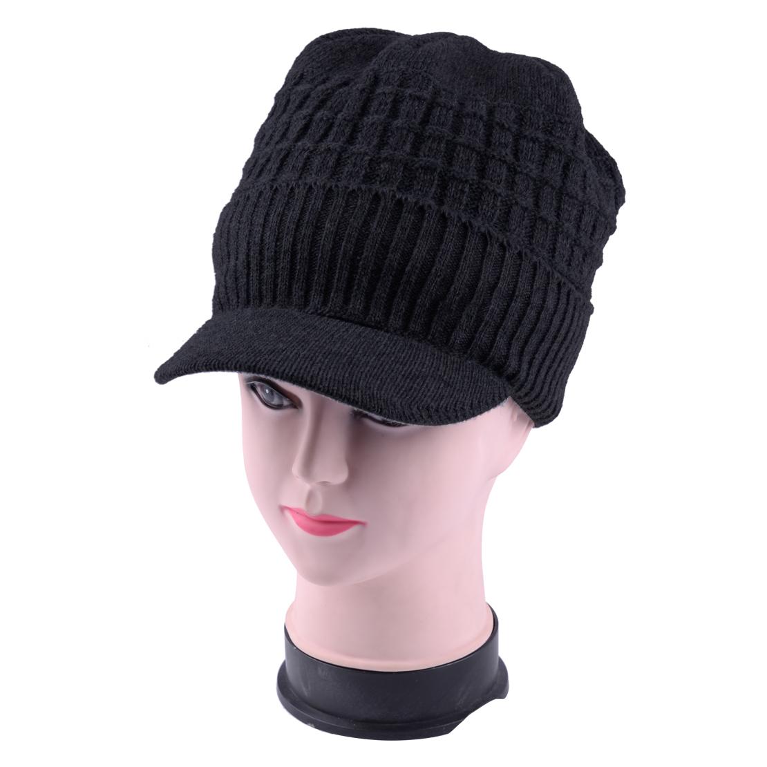 Tricote-Bonnet-Doublure-Casquette-d-039-hiver-Sport-Ski-Visiere-Chapeau-Hommes-Femme