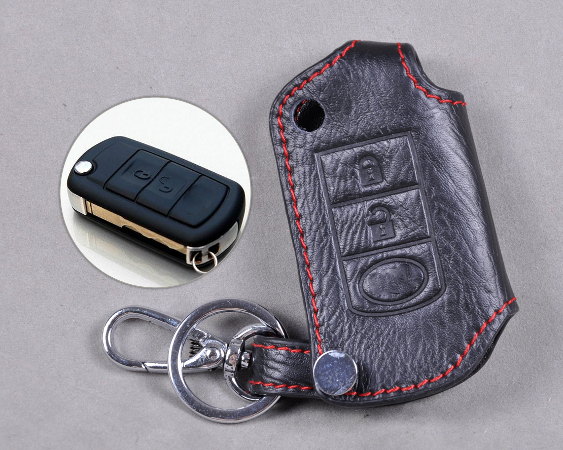 Land Rover Genuine Leather Key Case KeyChain Key Fob Cover Ring Chain Holder