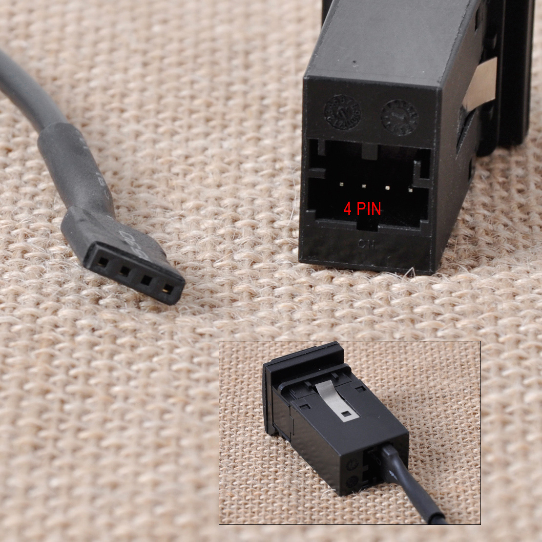 aux in audio in socket switch plug cable 5kd035724a for vw. Black Bedroom Furniture Sets. Home Design Ideas