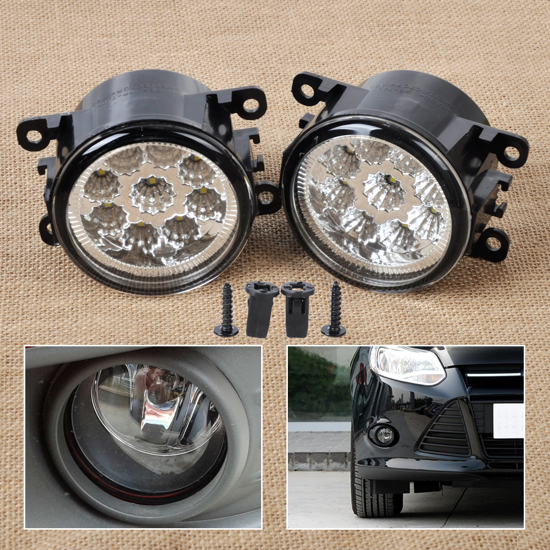 2x 9LED Round DRL Daytime Running Driving Lights Fit For