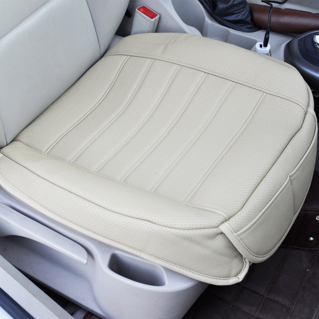 Universal Beige Seatpad PU Leather Car Seat Covers For Auto Office Chairs 702706039161