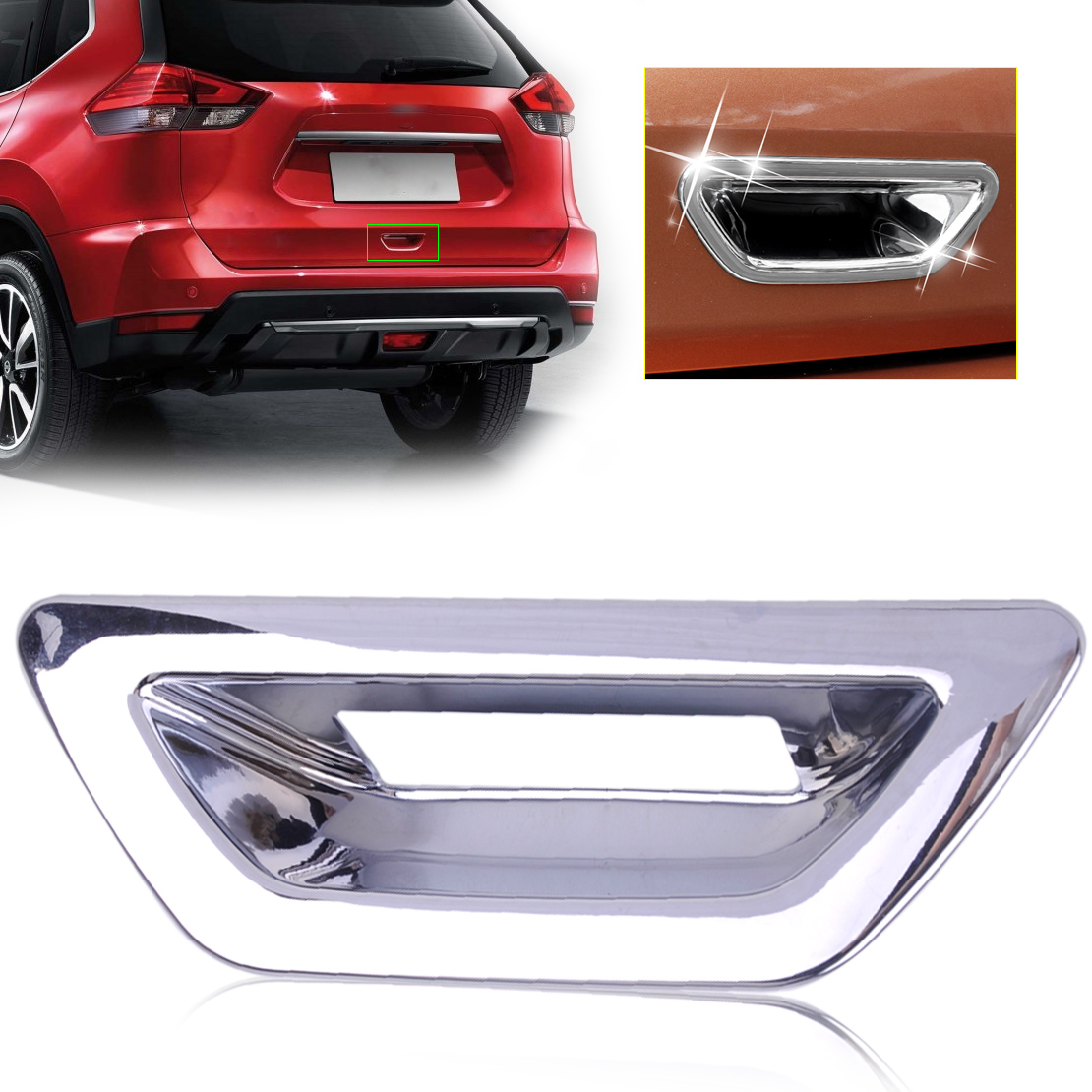 Chrome Rear Trunk Door Bowl Handle Cover Trim for 2014-2017 Nissan Rogue X-Trail