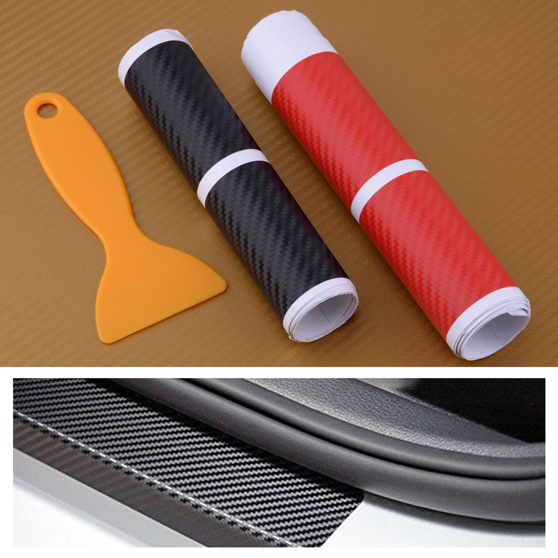 Details about 4x car door plate cover carbon fiber look decal sill scuff anti scratch sticker