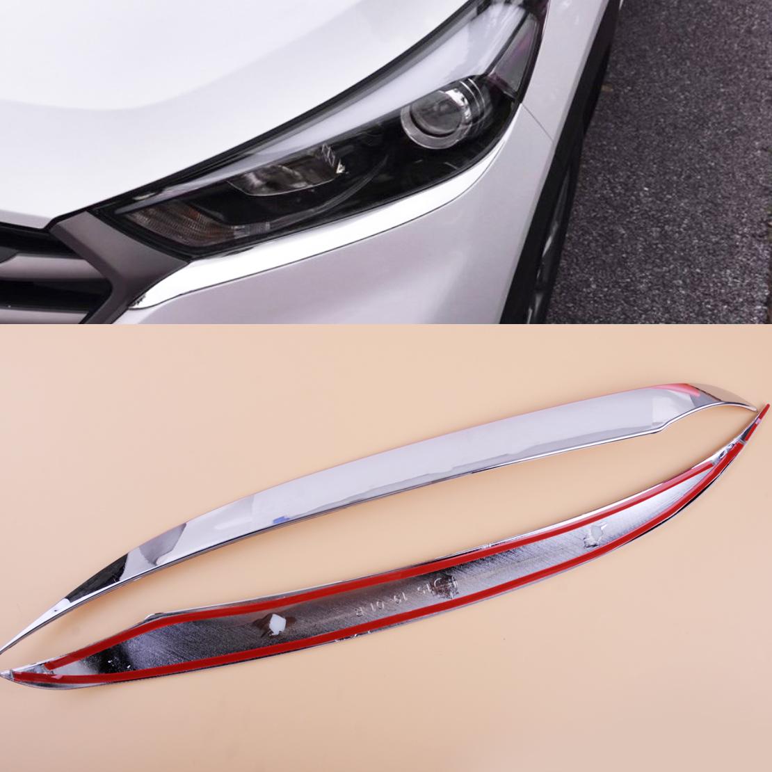2X Scheinwerfer Lampe Chrom Rahmen Abdeckung Leiste Blende für Hyundai Tucson
