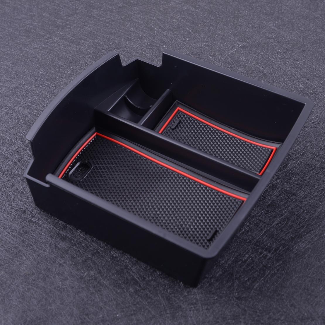 Black Car Storage Box Assesories,Auto Center Console Organizer Tray Armrest Container Fit for Hyundai Elantra 17-18