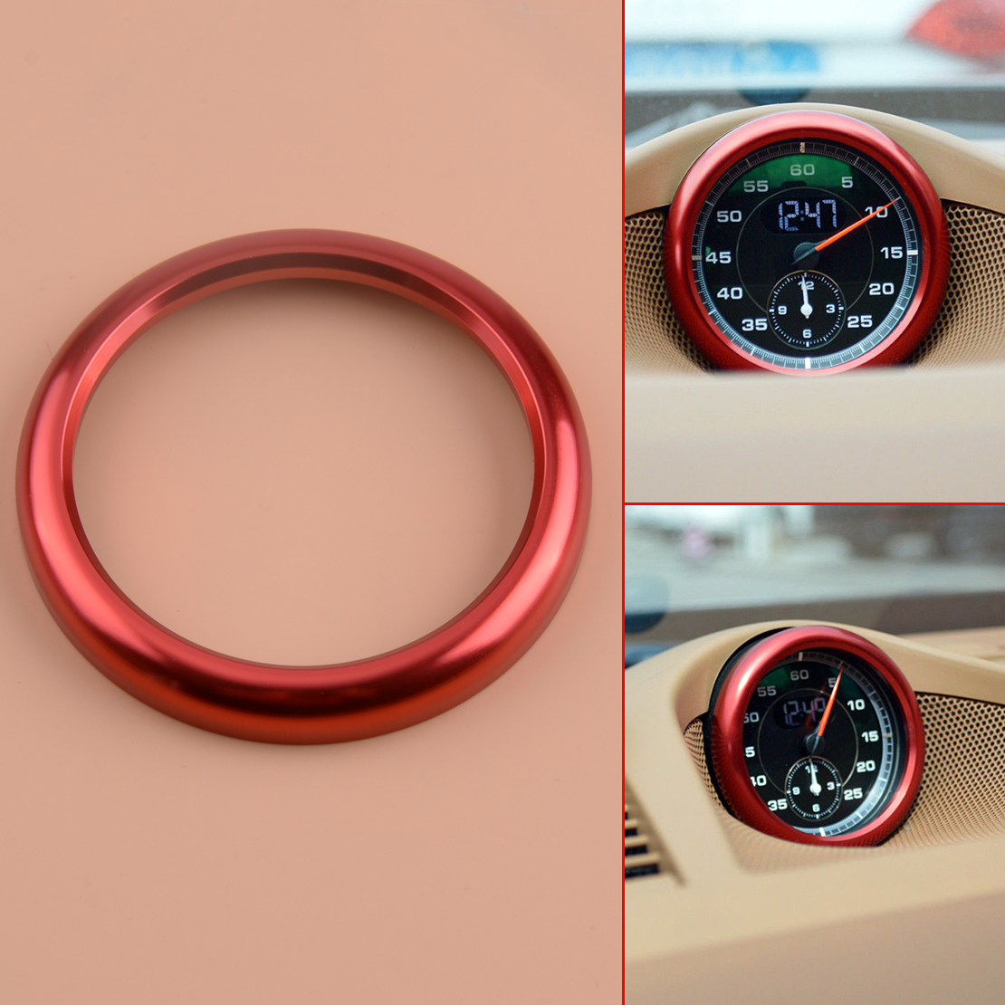 Red Alloy Car Center Control Clock Ring Cover Trim Fits For Porsche Cayenne 2019 Ebay