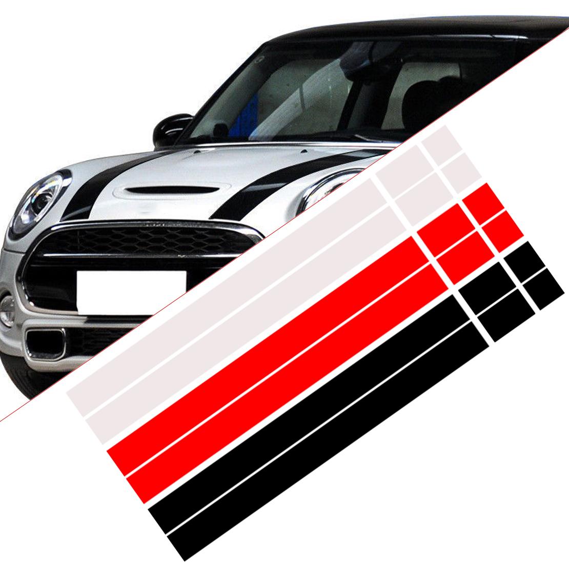 2 Bonnet Stripes Hood Decal Engine Cover Sticker for MINI Cooper R50 R53 R56 R52