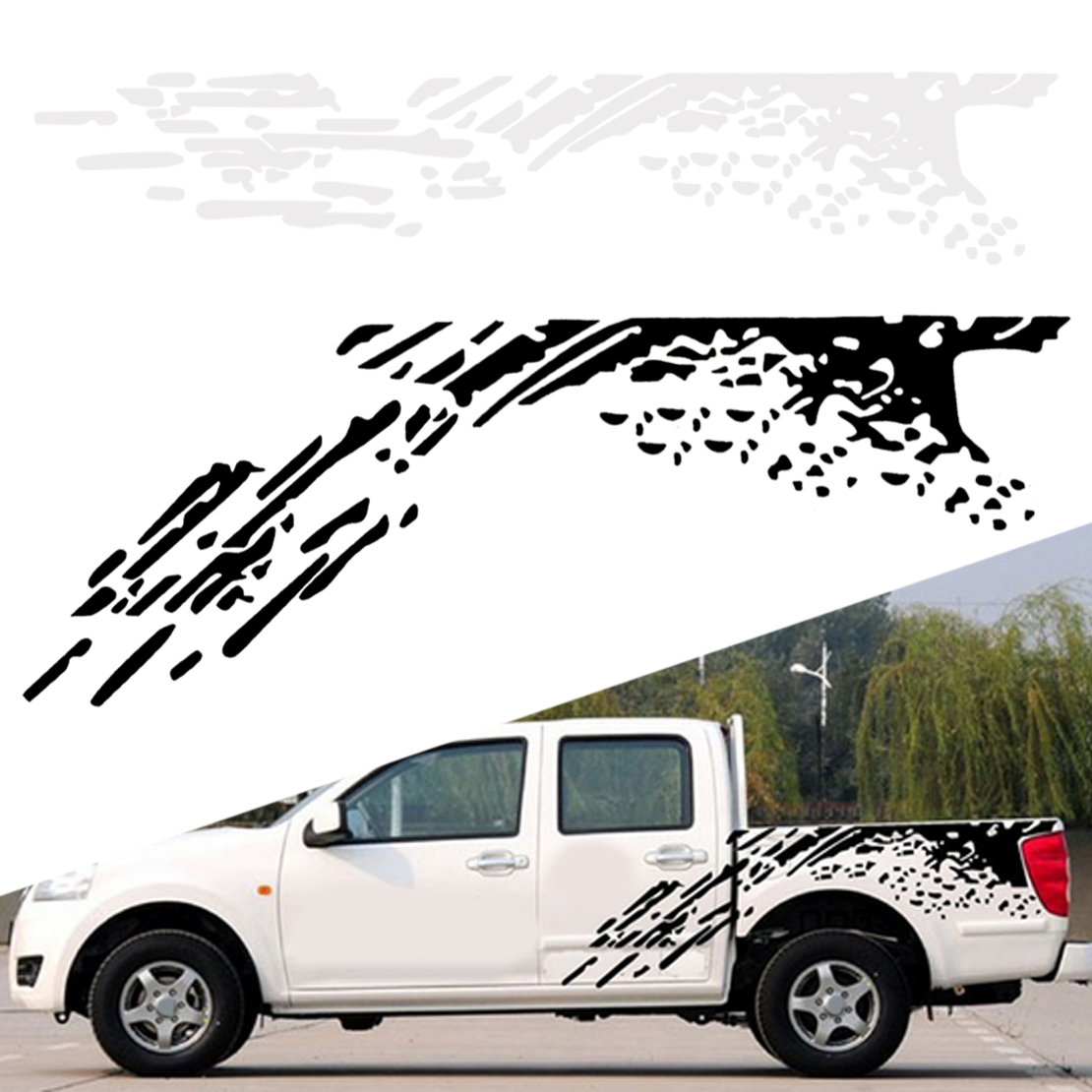 Details about car truck side bed mud splash decal sticker for ford raptor f 150 2009 2018