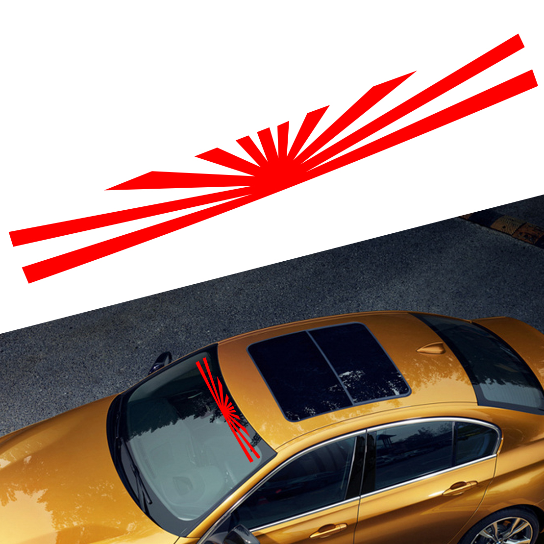 1.5M Car Rising Sun Japan Daily Low Strip Printed Windshield Vinyl Sticker Decal