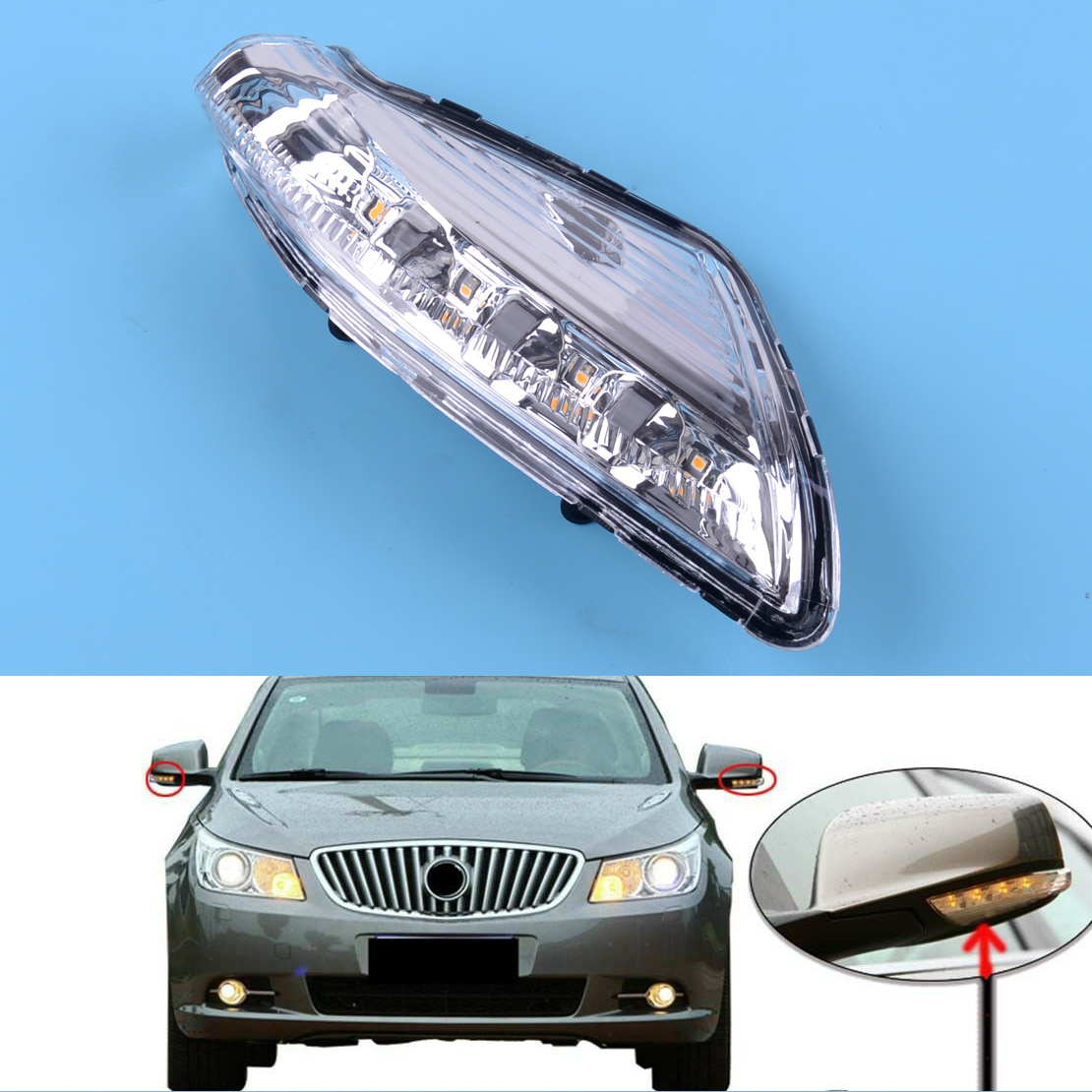 Interior Left Side View Mirror Turn Signal Light Fit for Buick Lacrosse 09-2015
