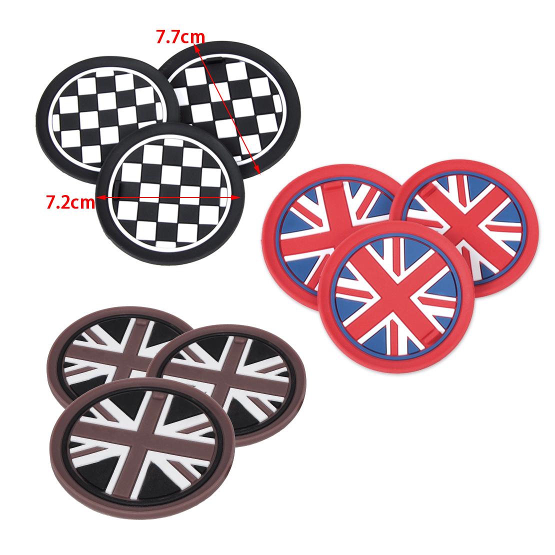 3x Coffee Union Jack Flag Anti-Slip Cup Mat Pad for Mini R55 R56 R57 R58 R59