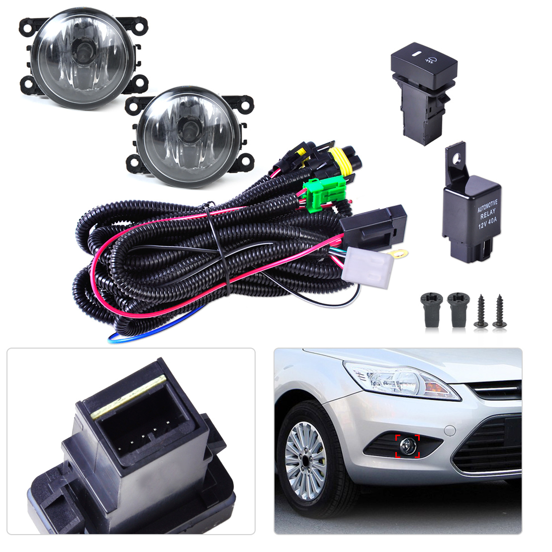 Wiring Harness Sockets Switch 2 H11 Fog Lights Fit Ford