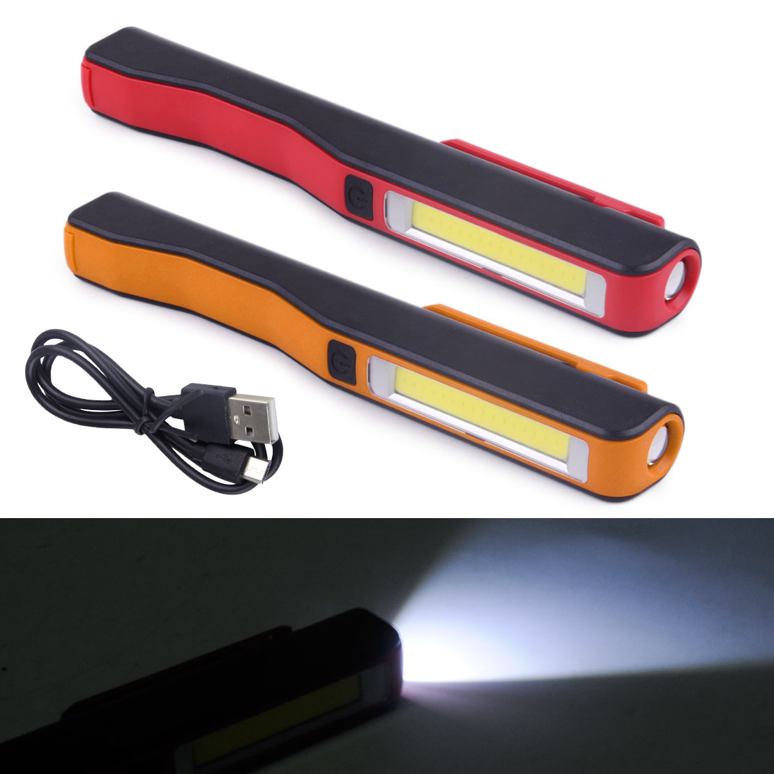 Small Pen LED COB Inspection Lamp Pocket Work Light Flexible Torch Magnetic Clip