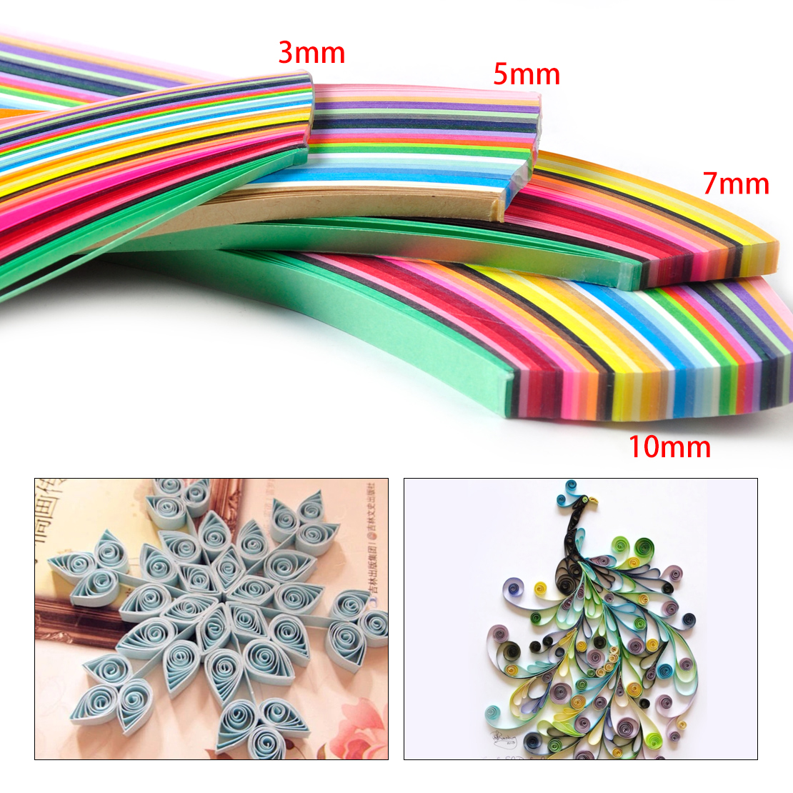 3mm 720Pcs Paper Quilling Strips 36 Colors 540mm-length