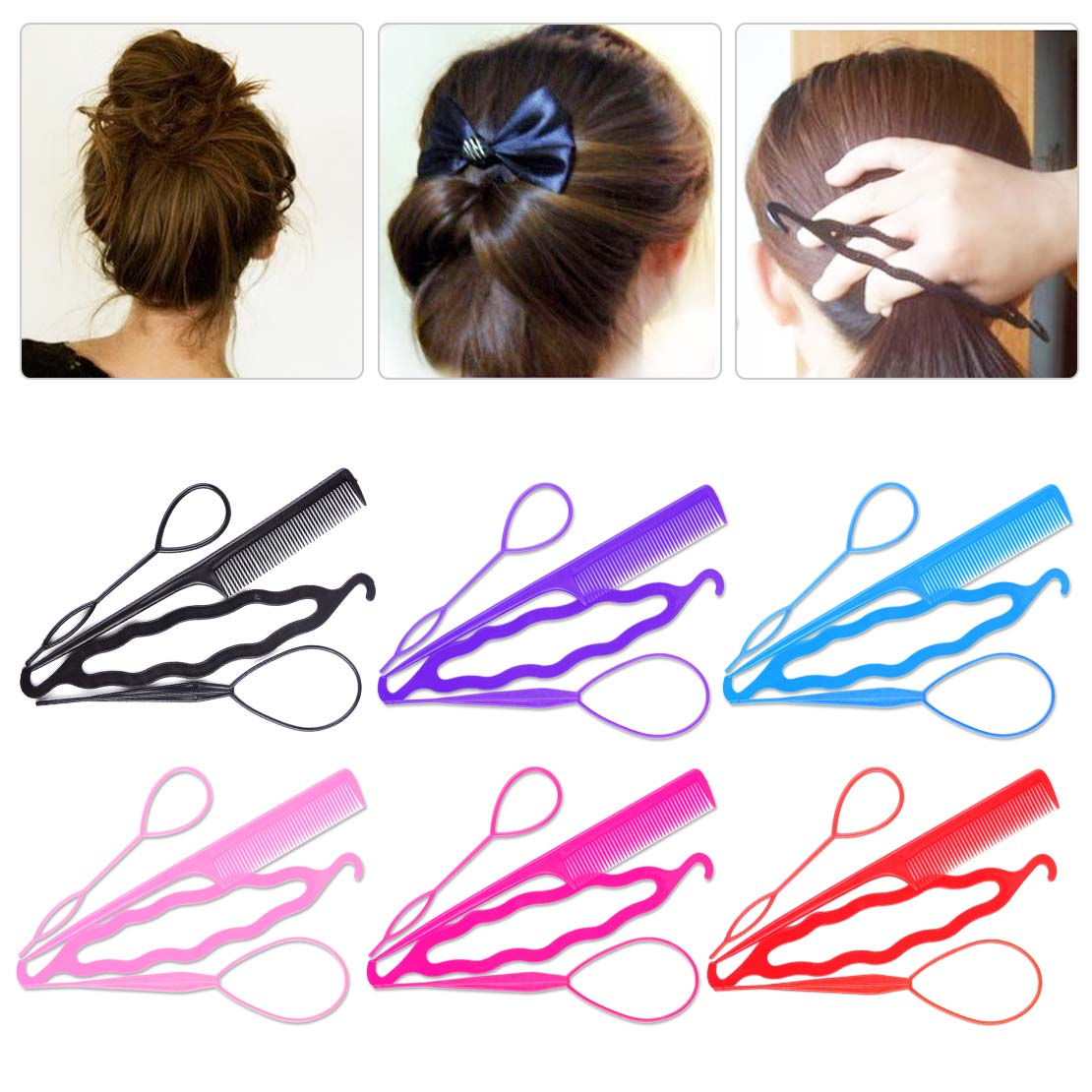 4X Set Magic Topsy Tail Hair Braid Ponytail Styling Maker Clip Tools Accessories