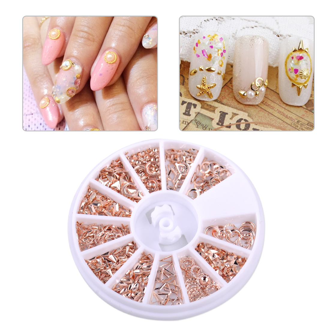 12 Shapes Rose Gold Metal 3D Nail Art Decorations Studs Nails ...