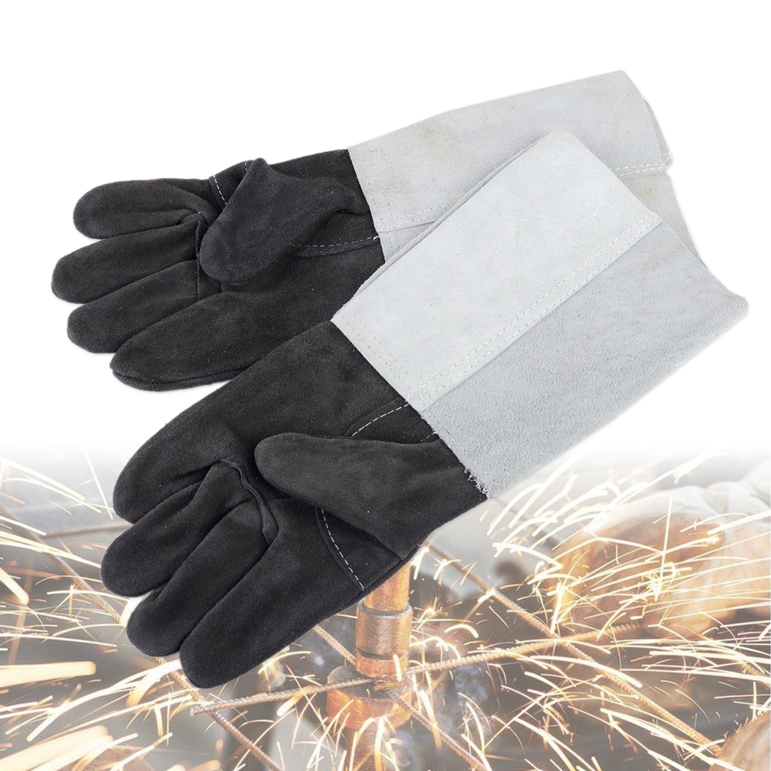 Soft Welding Cowhide Leather Plus Gloves Heat Shield Cover Guard Safe