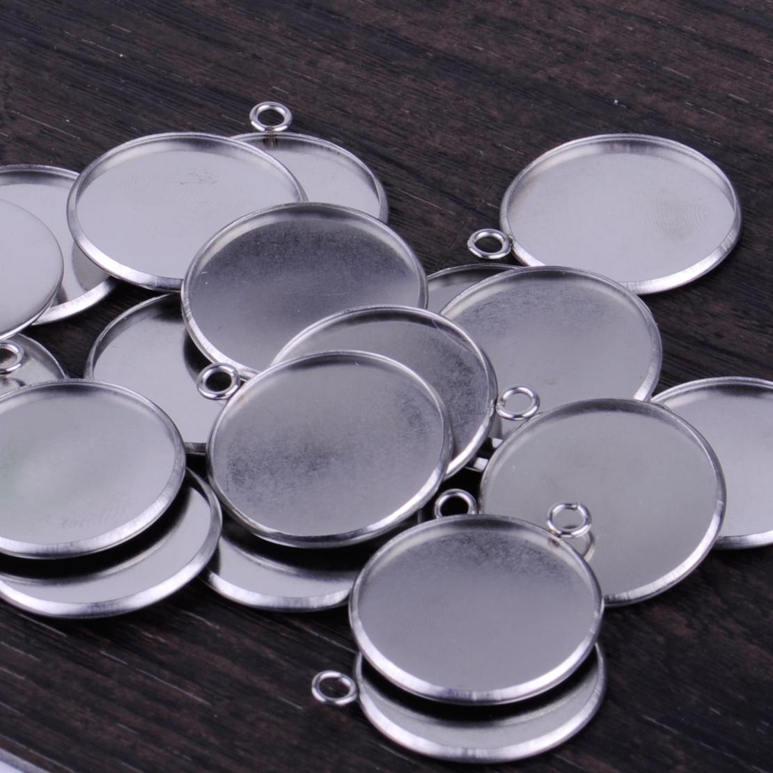 20Pcs Round Bezel Pendant Trays Blank Bases 25mm Cabochon Settings DIY Craft