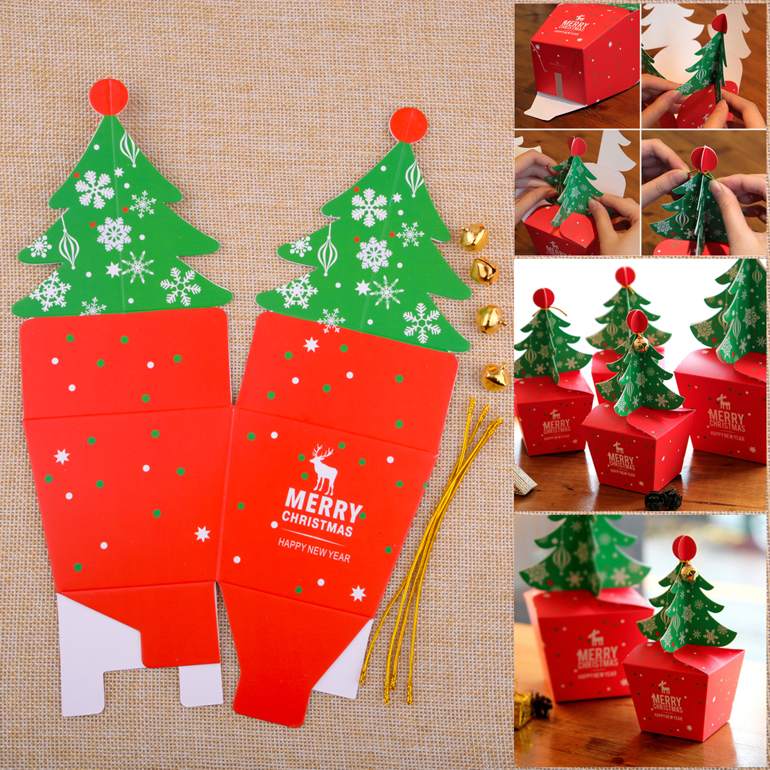 Christmas Candy Gifts.5pcs Christmas Candy Gifts Apple Box Cupcakes Dessert Cookies Xmas Tree Pack Box Ebay