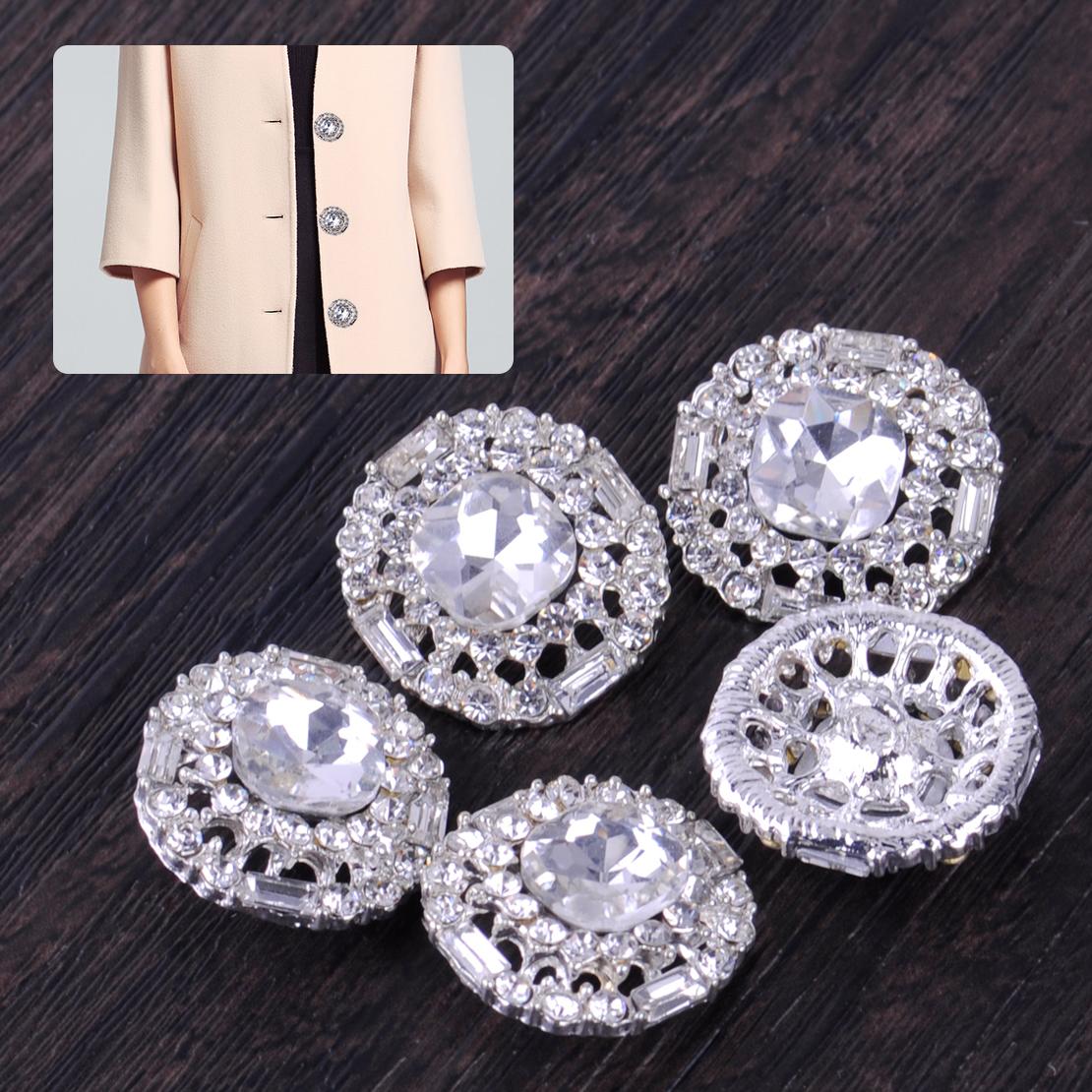 5pc Crystal Rhinestone Pearl Flower Button Flatback Craft Brooch Decor 30mm