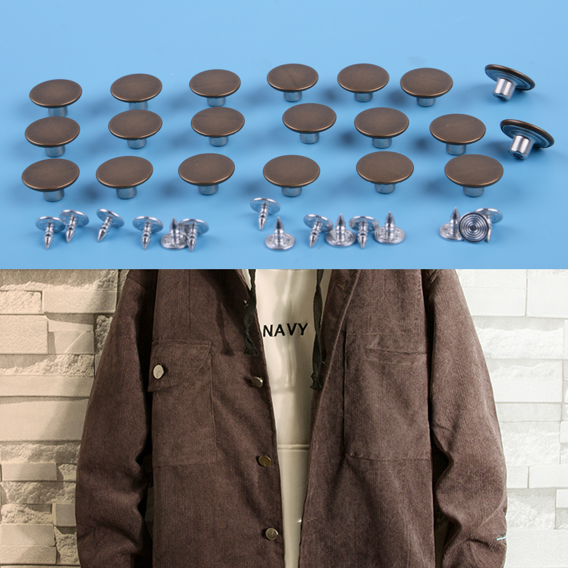 Jeans Buttons Replacement Instant No Sew Buttons for Pants with Tool,17MM