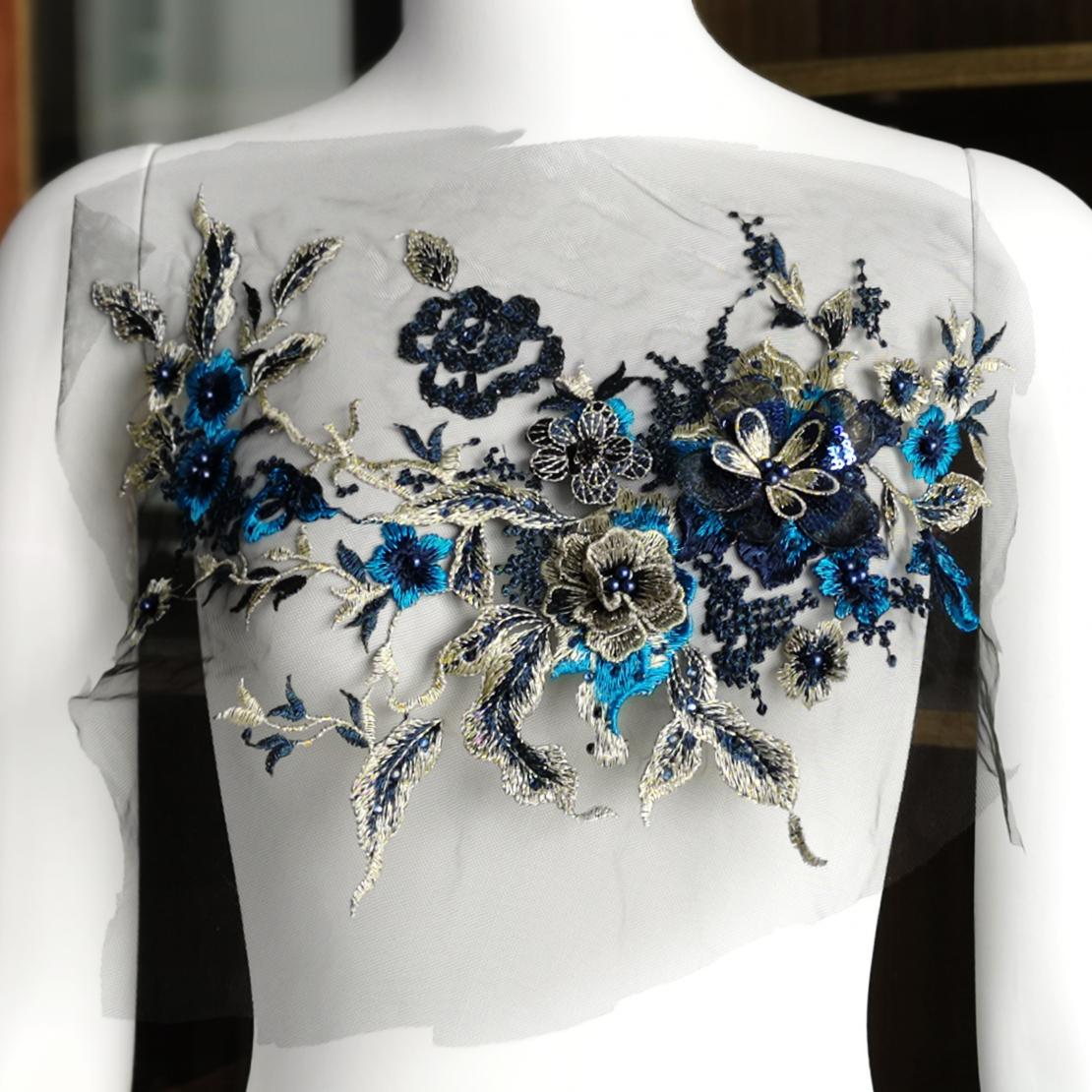 3D Blumen Stickerei Brautspitze Applikation Perle Perlen ...