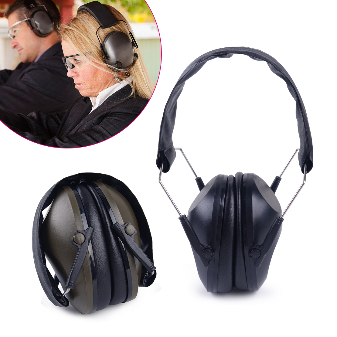 Defenders Muffs Headband Noise Hearing Ear Protection-New Adjustable Earmuffs